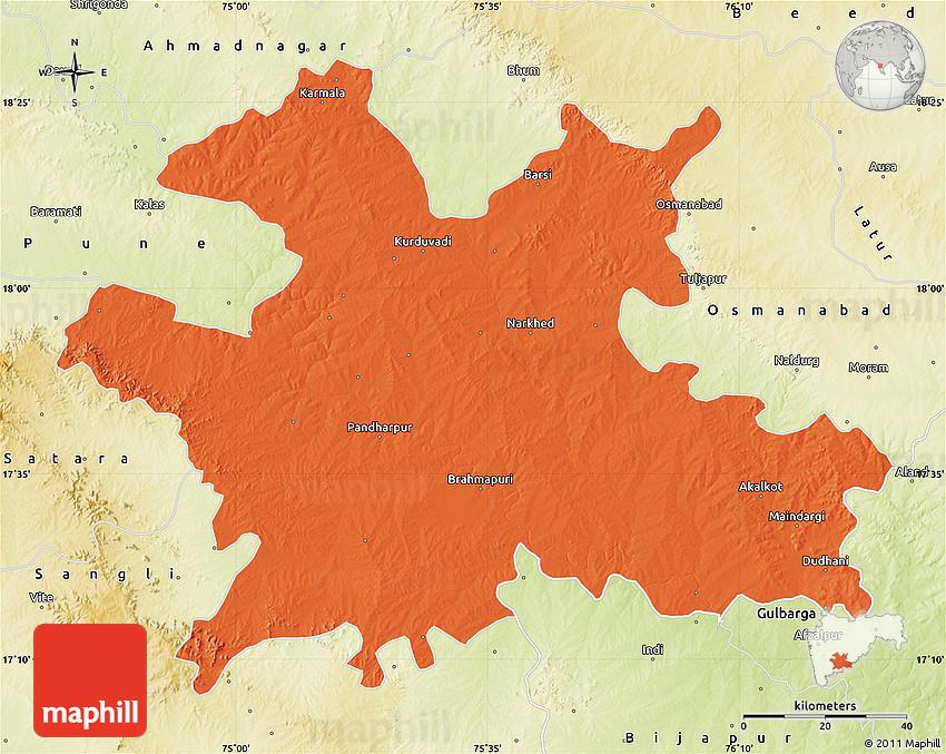Political Map Of Solapur Physical Outside - Solapur map
