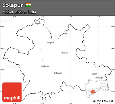 Free Blank Simple Map Of Solapur Cropped Outside - Solapur map
