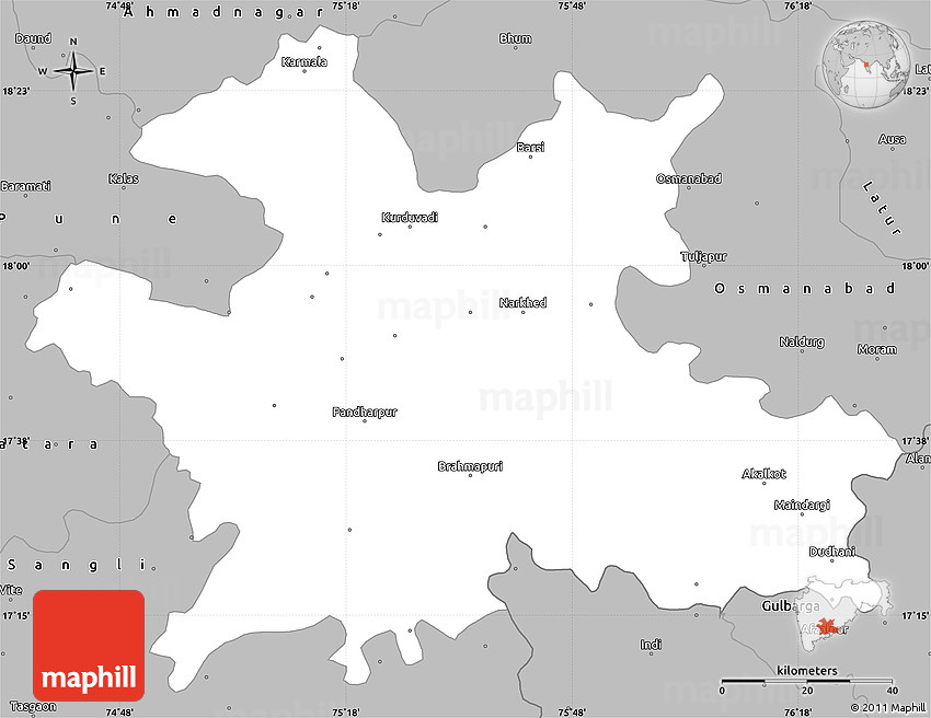 Gray Simple Map Of Solapur - Solapur map