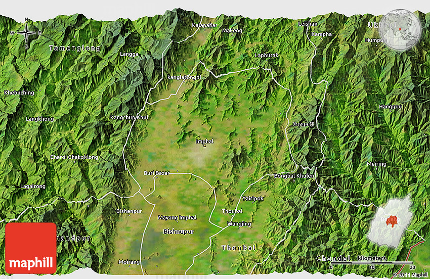 Satellite 3d Map Of Imphal