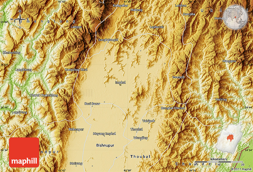 Physical Map Of Imphal