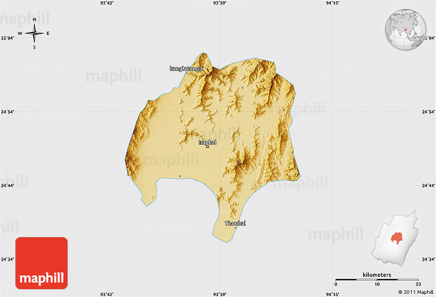 Physical Map Of Imphal Single Color Outside