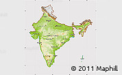 Physical Map of India, cropped outside
