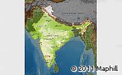 Physical Map of India, darken