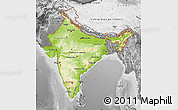 Physical Map of India, desaturated
