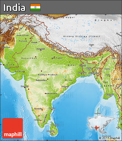 Free Physical Map of India