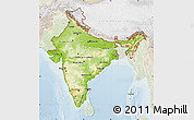 Physical Map of India, lighten