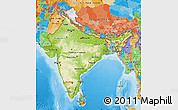 Physical Map of India, political outside, shaded relief sea