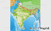 Physical Map of India, political shades outside, shaded relief sea