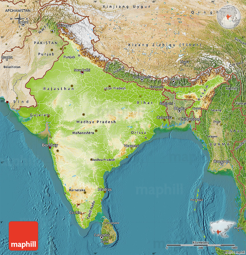 Physical Map of India satellite outside