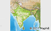 Physical Map of India, satellite outside, shaded relief sea