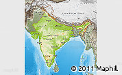 Physical Map of India, semi-desaturated, land only
