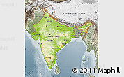 Physical Map of India, semi-desaturated
