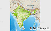 Physical Map of India, shaded relief outside