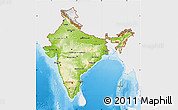 Physical Map of India, single color outside