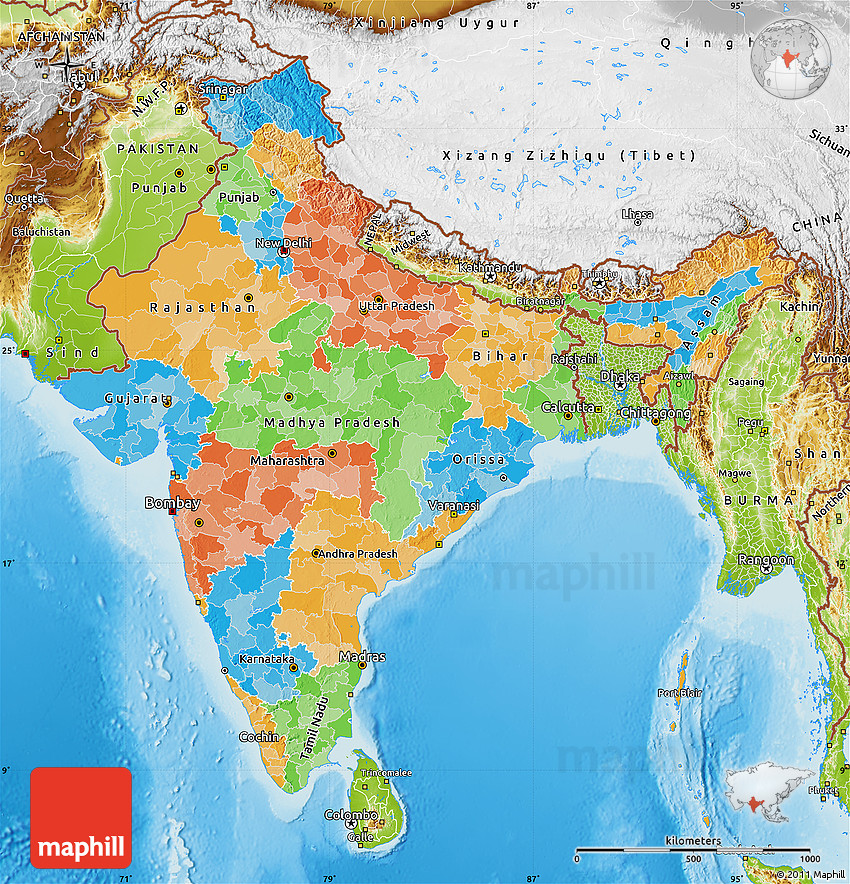 Political Map Of India Physical Outside