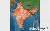 Political Shades Map of India, darken