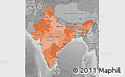 Political Shades Map of India, desaturated