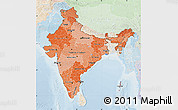 Political Shades Map of India, lighten