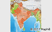 Political Shades Map of India, physical outside