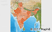 Political Shades Map of India, satellite outside, bathymetry sea