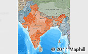 Political Shades Map of India, semi-desaturated, land only