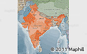 Political Shades Map of India, semi-desaturated