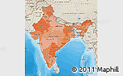 Political Shades Map of India, shaded relief outside, bathymetry sea