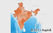 Political Shades Map of India, single color outside