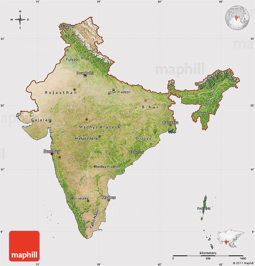 Sattlite Map Of India.Satellite Map Of India Cropped Outside