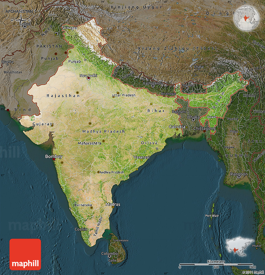 Setelight Map Of India.Satellite Map Of India Darken