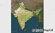 Satellite Map of India, darken