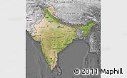 Satellite Map of India, desaturated