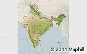 Satellite Map of India, lighten