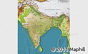 Satellite Map of India, physical outside, satellite sea