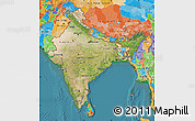 Satellite Map of India, political outside, satellite sea