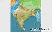 Satellite Map of India, political shades outside, satellite sea