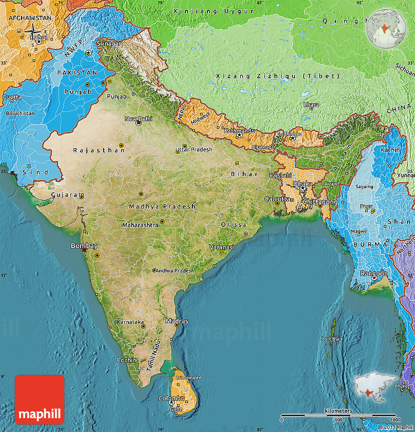 Setelight Map Of India.Satellite Map Of India Political Shades Outside Satellite Sea