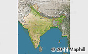 Satellite Map of India, semi-desaturated, land only