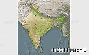 Satellite Map of India, semi-desaturated