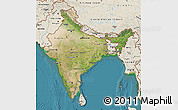 Satellite Map of India, shaded relief outside, satellite sea