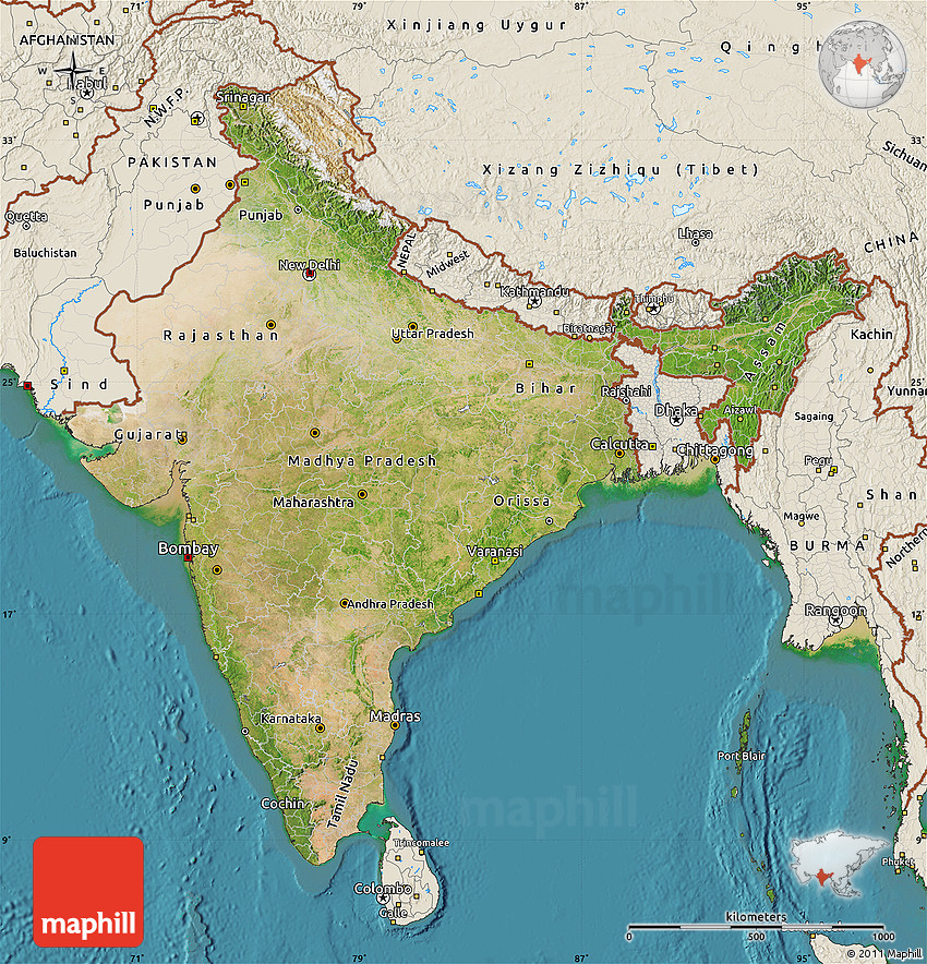 Setelight Map Of India.Satellite Map Of India Shaded Relief Outside Satellite Sea