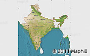Satellite Map of India, single color outside