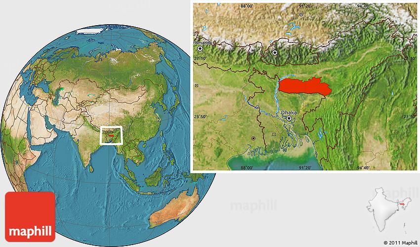 Satellite Location Map of Meghalaya