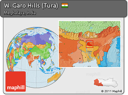 Free Political Location Map of W Garo Hills Tura