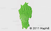 Political Shades 3D Map of Mizoram, cropped outside