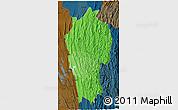 Political Shades 3D Map of Mizoram, darken