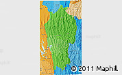 Political Shades 3D Map of Mizoram