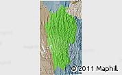 Political Shades 3D Map of Mizoram, semi-desaturated