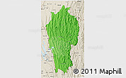 Political Shades 3D Map of Mizoram, shaded relief outside